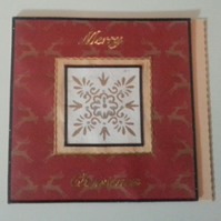 Reindeers and Golden Snowflake Merry  Christmas Card