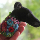 Needle Felted Flowerbomb Greyhound Lurcher Brooch