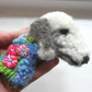 Needle Felted Flowerbomb Bedlington Terrier Brooch