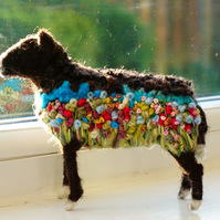 Needle Felted Embroidered Zwartbles Sheep