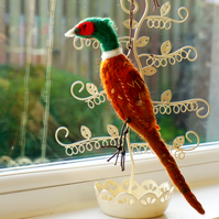Pheasant Ornament wet felted