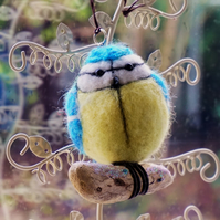 Needle Felted Blue Tit Ornament