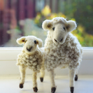 Sheep and lamb sculptures needle felted