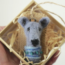 Needle Felted Whippet Brooch
