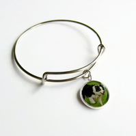 Custom Pet Photo Charm Bangle, Personalised Picture Bracelet, Adjustable