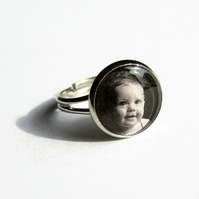 Custom Photo Ring, Personalised Ring, Gift for Mother, Adjustable