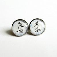Pale Blue Bird Earrings, Quirky Bird Picture Studs, Hypoallergenic