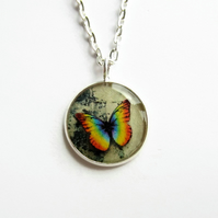 Small Rainbow Butterfly Necklace, Butterfly Picture Pendant, 18mm