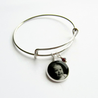 Personalised Custom Baby Photo Charm Bangle with Swarovski Crystal Birthstone