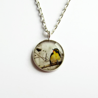 Little Yellow Bird Necklace, Bird Picture Pendant, Resin Jewellery, 18mm Pendant