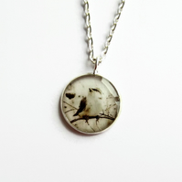 Little Bird Necklace, Bird Picture Pendant, Resin Jewellery, 18mm Pendant