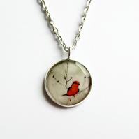 Little Red Bird Necklace, Bird Picture Pendant, Resin Jewellery, 18mm Pendant