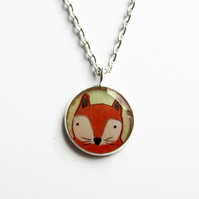 Cute Fox Necklace, Small Red Fox Picture Pendant, 18mm