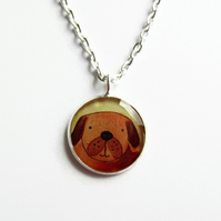 Cute Dog Necklace, Small Dog Watercolour Picture Pendant, Art in Resin, 18mm