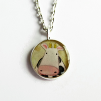 Quirky Cow Necklace, Small Cute Cow Picture Pendant, Fun Gift, 18mm