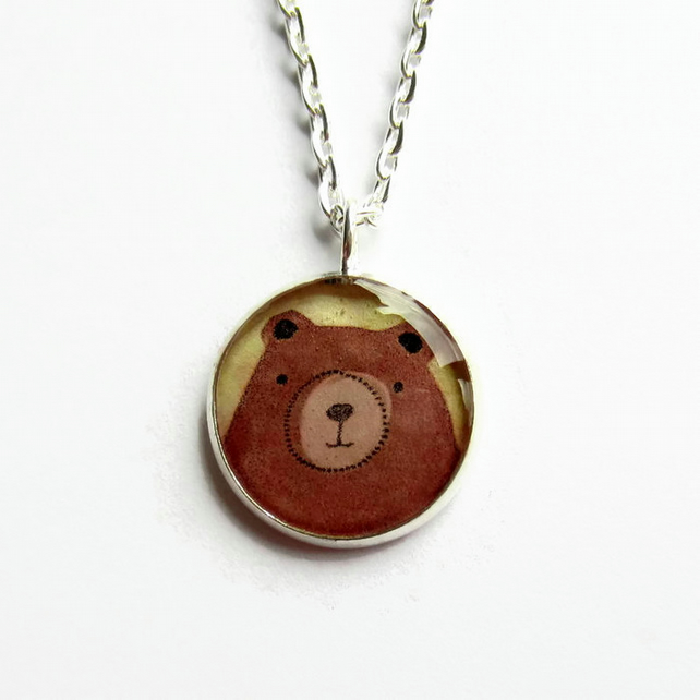 Brown Bear Necklace, Cute Grizzly Bear Picture Pendant, Resin Jewellery, 18mm