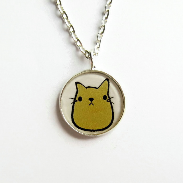 Cute Cat Necklace, Small Doodle Art Cat Picture Pendant, 18mm