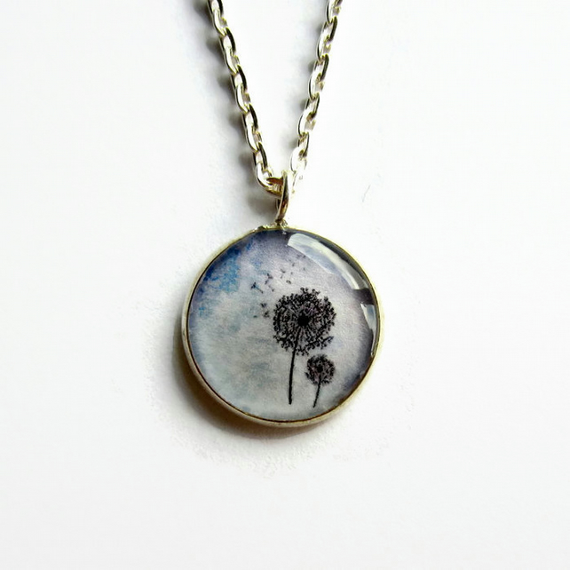 Small Lilac Blue Dandelion Necklace, Dandelion Seeds Picture Pendant, 18mm
