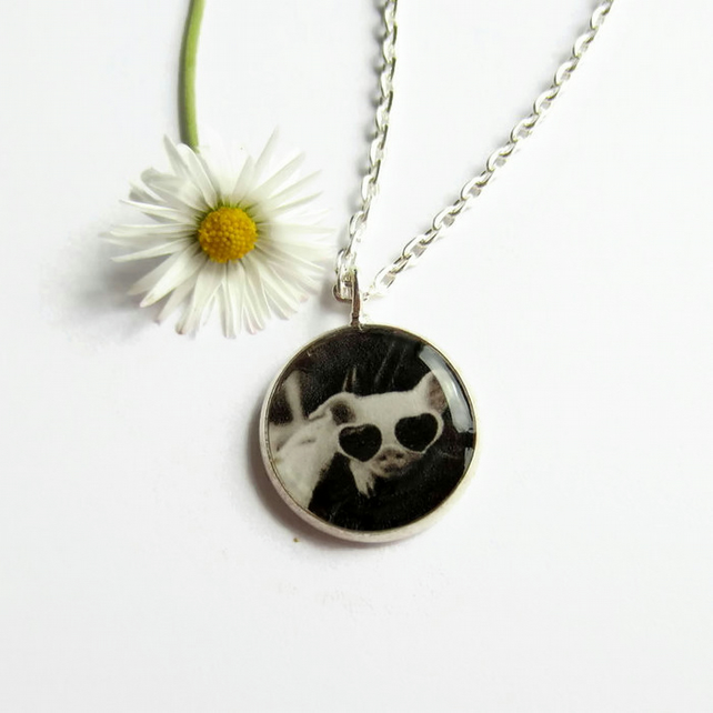 Cute Pig Necklace, Quirky Picture Pendant, Fun Jewellery Gift, 18mm