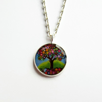 Tree of Life Necklace, Multicoloured Picture Pendant, 18mm