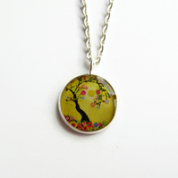 Yellow Tree of Life Necklace, Multicoloured Picture Pendant, 18mm