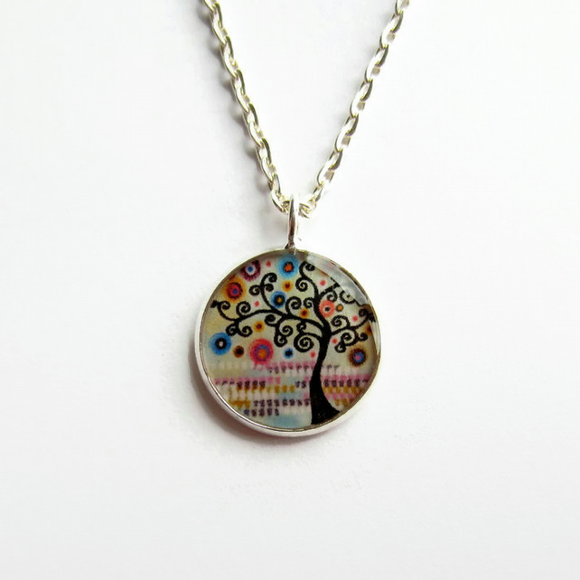 Pastel Tree of Life Necklace, Multicoloured Picture Pendant, 18mm