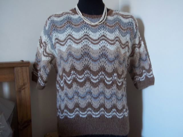 Vintage 1940's style jumper in lacy stripes