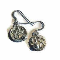 small fused sterling silver disc earrings