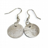 small, reticulated sterling silver disc earrings