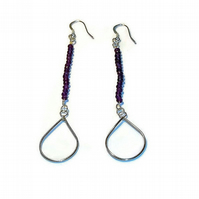 long amethyst bead and silver pear handmade earrings