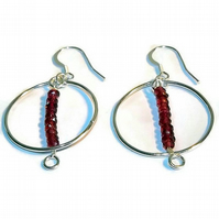 rhodolite garnet and sterling silver hoop earrings
