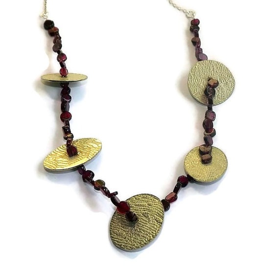 garnet, pewter and sterling silver necklace