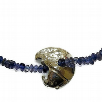 iolite and sterling silver necklace