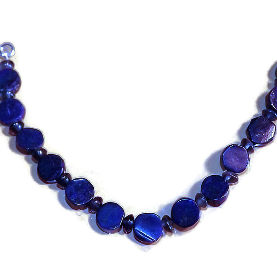 Lapis lazuli and iolite bead necklace