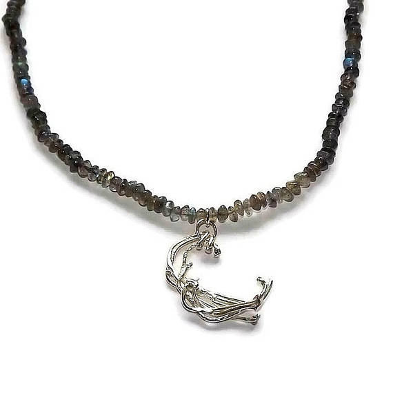 Labradorite bead necklace with handmade sterling silver pendant
