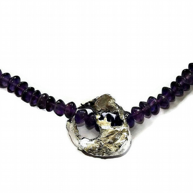 amethyst necklace with handmade abstract sterling silver pendant