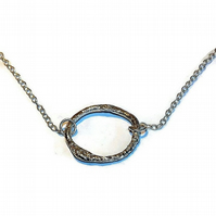 reticulated sterling silver hoop pendant