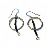 black spinel and sterling silver hoop earrings