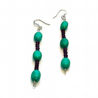 turquoise and amethyst drop earrings