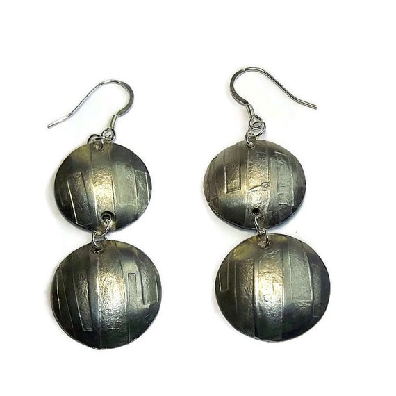 handmade pewter dome earrings