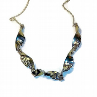 handmade  pewter statement necklace