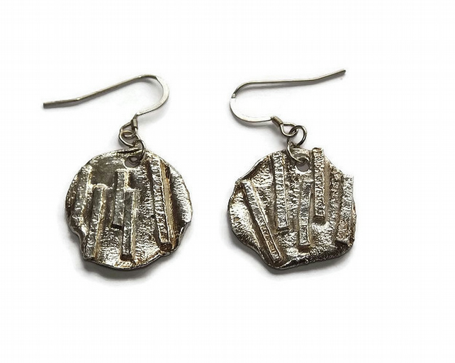 sterling silver handmade disc earrings