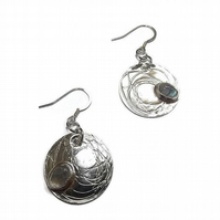 moonstone and fine silver disc earrings
