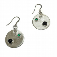 rose cut black spinel, green onyx and fine silver disc earrings