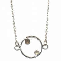 Sterling silver hoop pendant with rose cut labradorite and cabochon moonstone