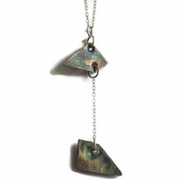 oxidised fine silver  geometric drop pendant