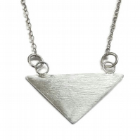 Fine silver handmade triangle pendant necklace