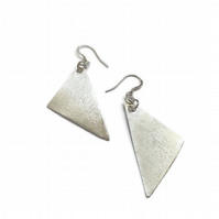 fine silver triangle drop  handmade earrings