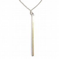 sterling silver bar minimalist pendant