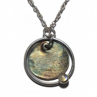 oxidised fine silver disc and moonstone handmade pendant